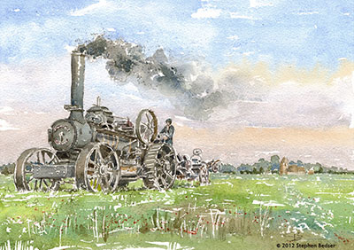 Fowler Ploughing Steam Engine Artwork by Stephen Bedser