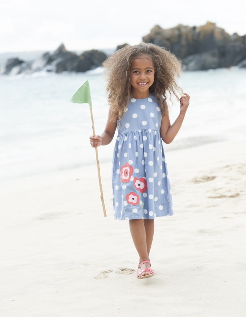 Pretty party dress in surf blue big spot ages 3-10y- £28