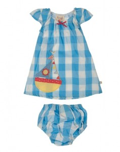 Pretty baby dress set in Cornish blue check in sizes 0-3y- £26