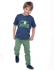 Cornish printed T-shirt- in indigo/surf polar bear- ages 3-10y £15