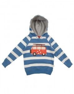 Striped applique hoody- in surf blue big Breton stripe-ages 3-10y- £30