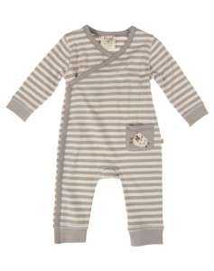 Baby long sleeve kimono romper in stone stripe/sheep- £19