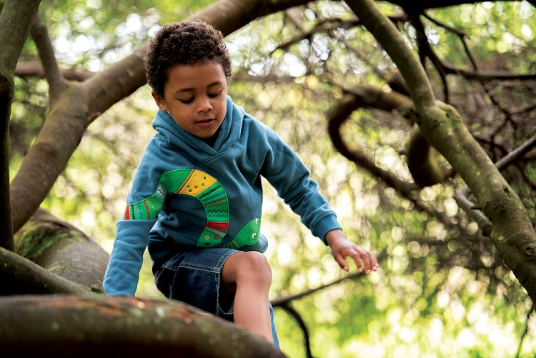 Little boy wearing the Frugi Hedgerow Hoody climbs a tree.